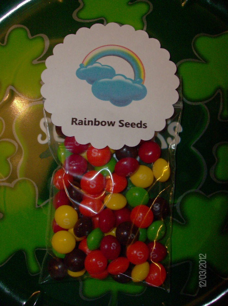 """Rainbow Seeds"" for St. Patrick's Day party favors"