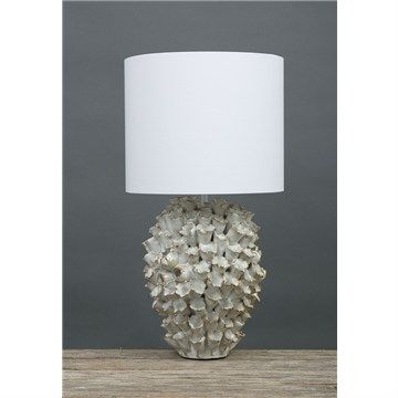 Londolozi Ceramic Coral Table Lamp with White Line Shade
