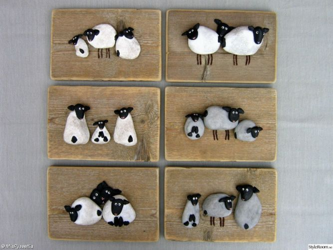 Painted Stone Sheep Wall Art