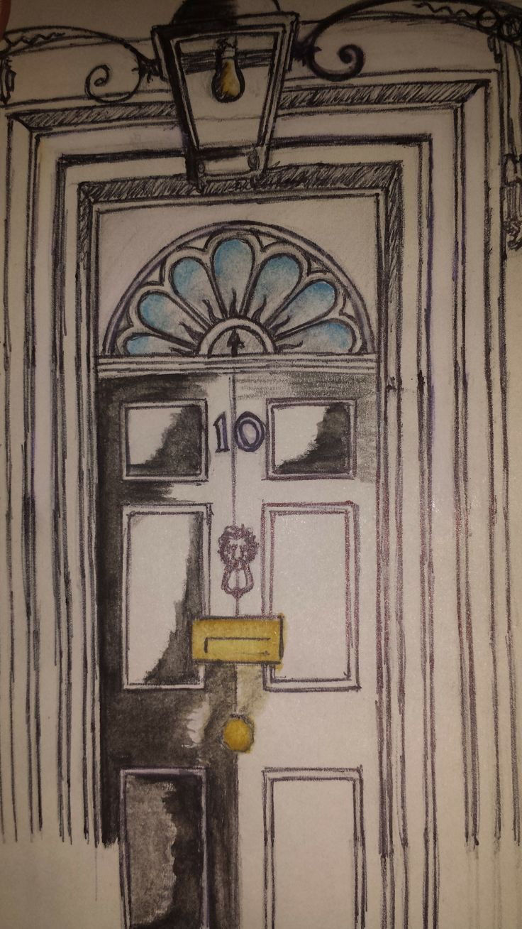 Number 10 Downing Street (Watercolour & Pencil).