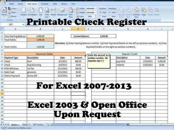 printable check register how to balance a check book new version