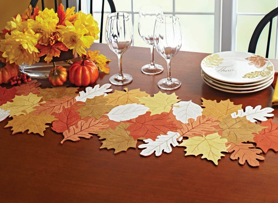 Leaves Table Runner. Bring the colors and spirit of the season to your table with this charming felt runner of maple, oak and elm leaves. $13.97