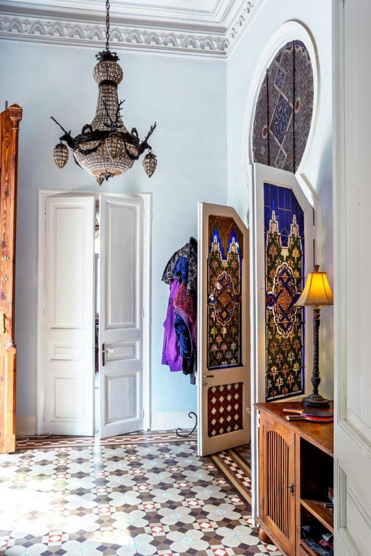 Home Design, Artistic Hallway Design In Oriental House With Pendant Light  In House Entrance: