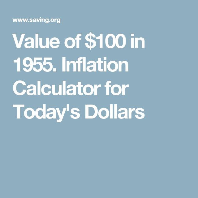 Value of $100 in 1955. Inflation Calculator for Today's Dollars
