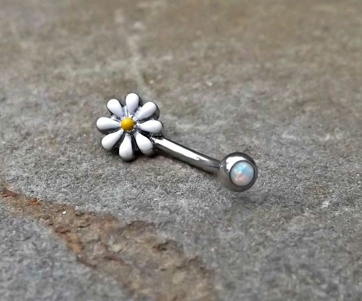 Daisy Fire Opal White Belly Button Navel Ring Body Jewelry Fits in Navel 14ga Cute Belly Ring - BodyDazzle - 1