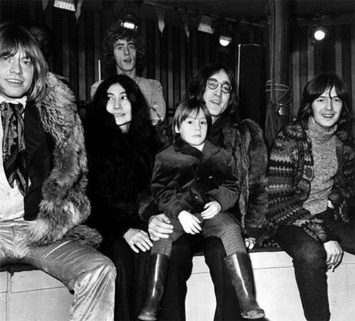 Brian Jones, Yoko Ono, Roger Daltrey, John Lennon (with Julian) and Eric-Clapton at the Rolling Stones Rock & Roll Circus, December 1968