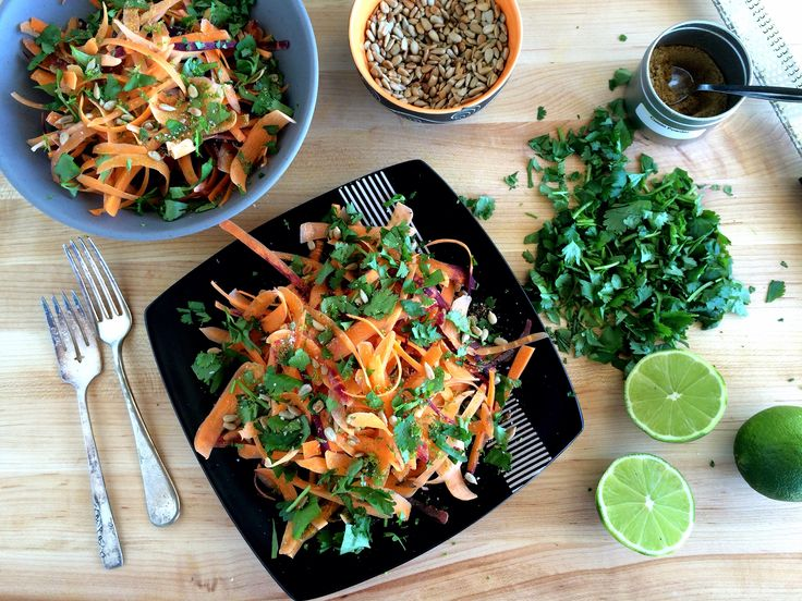Shredded carrot salad with cilantro and lime