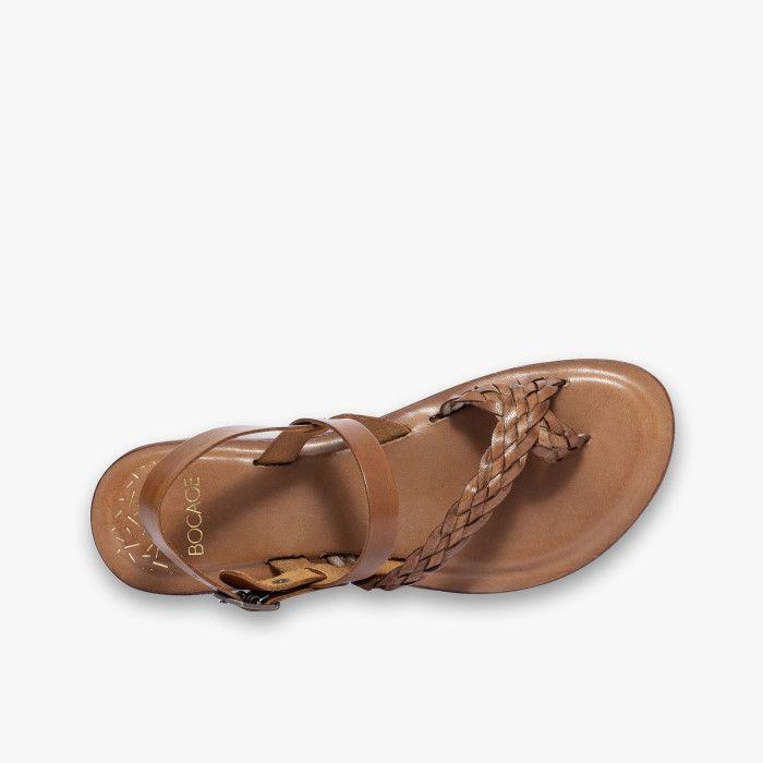 Sandale cognac en cuir lisse avec bride tressée en 2020