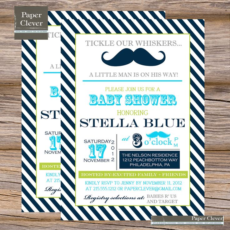 Boys Baby Shower Invitation Mustache Printable By Paperclever, $13.00