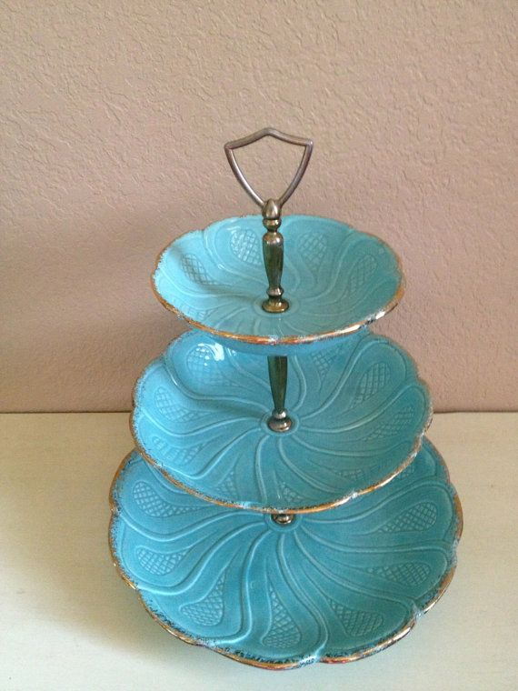 Vintage California Pottery Dessert Stand Turquoise Three Tier serving Tidbit dishes Tray on Etsy, $75.87 AUD