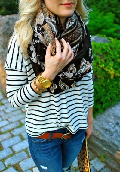 I have a shirt like this! Never would of thought to pair it with a cute patterned scarf like this!