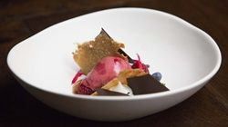 Blackberry Sorbet with Salted Almond Tuile and Nougat