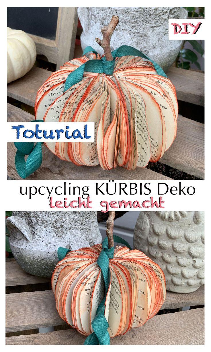 Tutorial, upcycling Idee Kürbis, Halloween Kürbis aus Papier basteln, Herbstdekoration