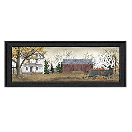 Trendy Decor 4 U BJ115-405 Pumpkins for Sale Framed Print, 38 x 14-Inch