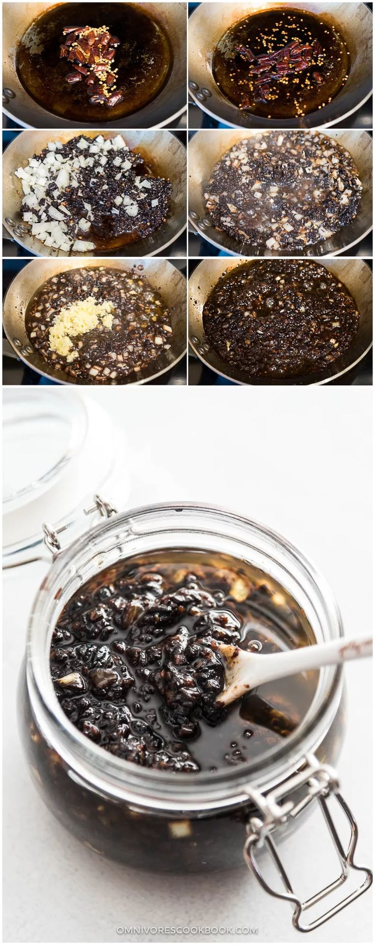 INGREDIENTS: 1 cup fermented black beans 1/3 cup vegetable oil 1/4 white onion, minced (Optional) 4 to 6 dried chili peppers, torn to small pieces...