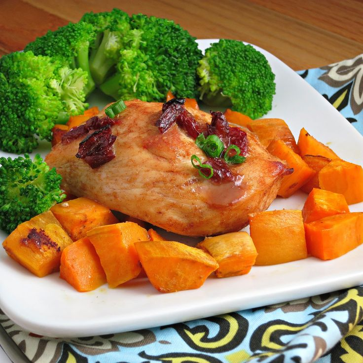 ... protein low carb Chipotle-Glazed Roast Chicken with Sweet Potatoes