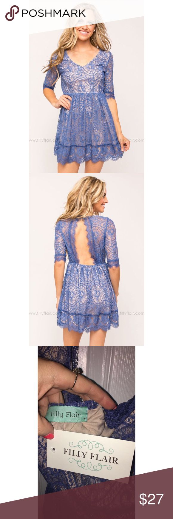 Filly Flair Cut-Out Back Dress Blue-Medium Cute summer dress from Filly Flair! Never worn-tags still attached!! 💙 Blue, size Medium Filly Flair Dresses Midi