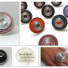 Bague capsules  nespresso decoration spirale alu et cabochon - rose