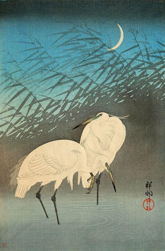 Birds animal Japanese art prints and posters, herons, egrets woodblock prints…
