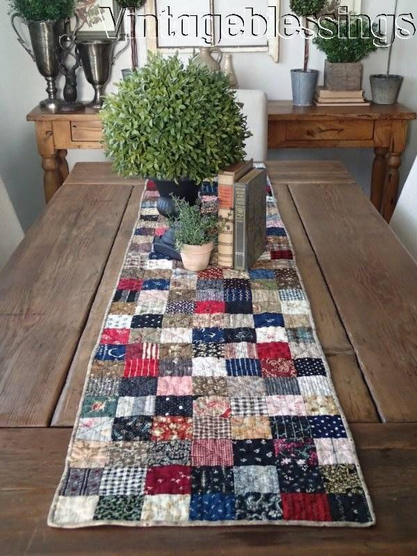 """Long 66"""" Antique c1880s One Patch Table QUILT Runner AMAZING FABRICS Last One"""
