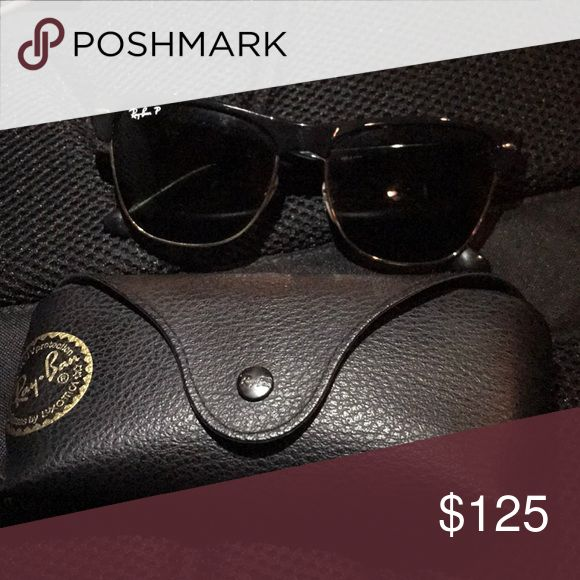 Polarized club master ray bans Gold rimmed lenses (polarized) Only been worn twice Ray-Ban Accessories Glasses