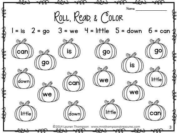 Roll, Read, & Color - Just add dice for this fun sight word practice pack! $