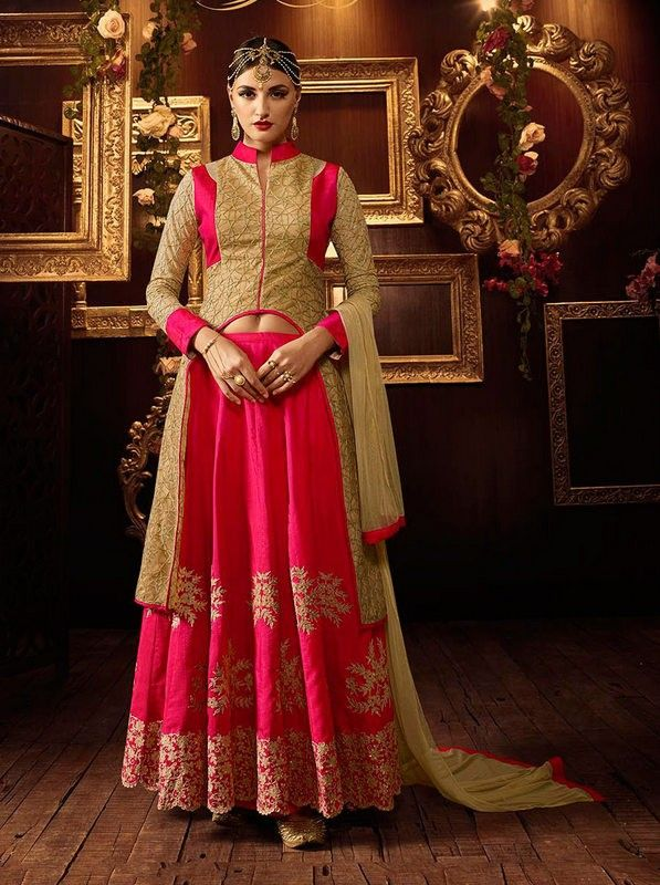 Pink and Beige Colour Net and Silk Designer Lehenga Suit