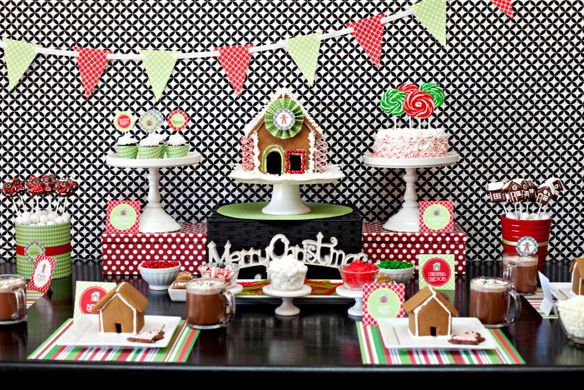 Kara's Party Ideas Gingerbread Themed Christmas Party - Free Printable Party Download - Kara's Party Ideas - The Place for All Things Party