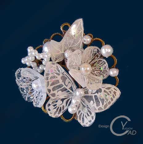 スタンプ&ペイント プラバン見本PJ127 Shrink Plastic in Jewelry 湯口千恵子作