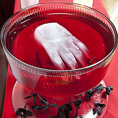 Frozen Hand.... fill a plastic gloove with water and pop in the freezer until frozen, then remove the platic and place the ice hand in a bowl of punch!!