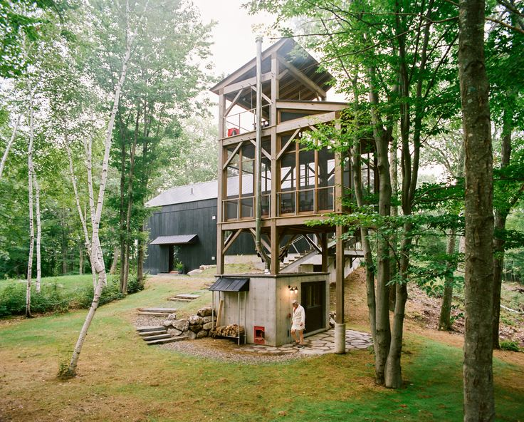 I. Die. A three-story tree house features a sauna and screened-in dining room.