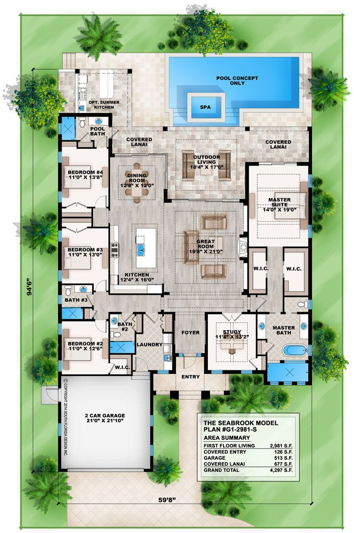 Coastal Contemporary floor plan features 4 bedrooms, 4 baths and a 2 car front entry garage