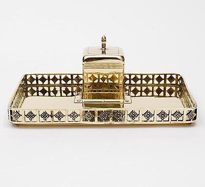Found on www.botterweg.com - Brass ink set with casted ajour rim design execution Jan Eisenloeffel the Netherlands ca.1905