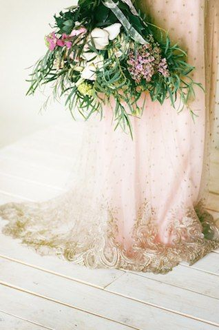 Gold lace embellished couture wedding dress | Katerina Lobova Photography | see more on:  http://burnettsboards.com/2014/05/ethereal-bridal-...