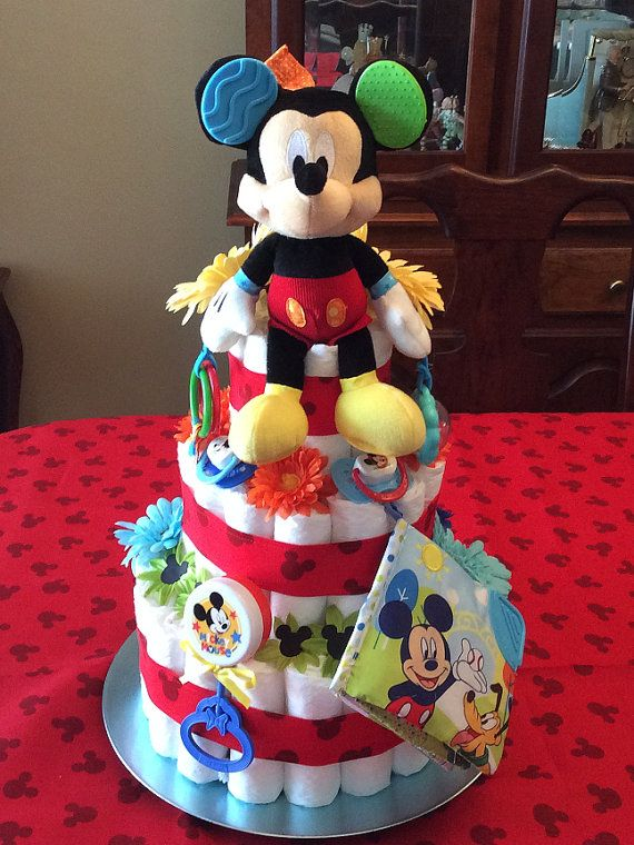 Mickey Mouse Diaper Cake by CreationsByAngeleque on Etsy