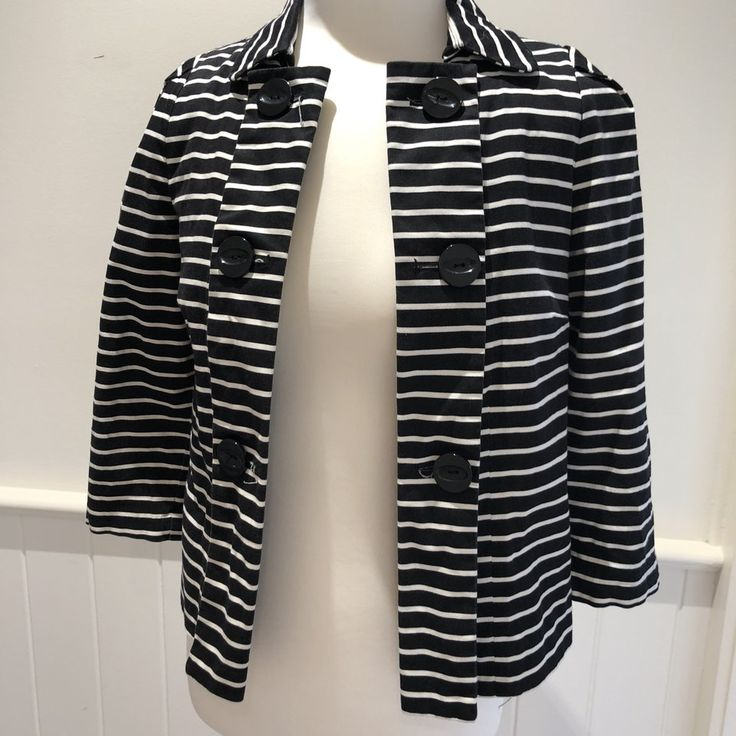 Black and White Striped Peacoat
