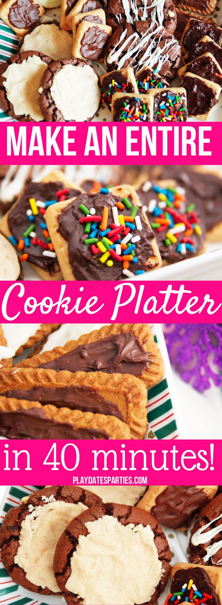 Some days you don't have time to make a whole platter of homemade cookies. Instead, find out the best cookie platter tips to turn store-bought cookies into awesome 'homemade' treats...in only 40 minutes! https://playdatesparties.com/12-days-of-christmas-cookies-cheating/
