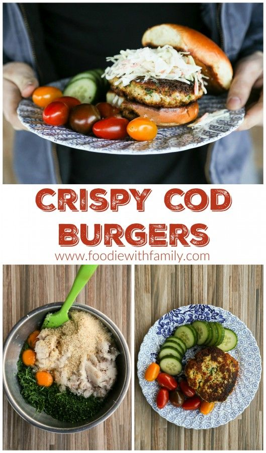Easy, heEasy, healthy, homemade Crispy Cod Burgers with chives and Old Bay from foodiewithfamily.com