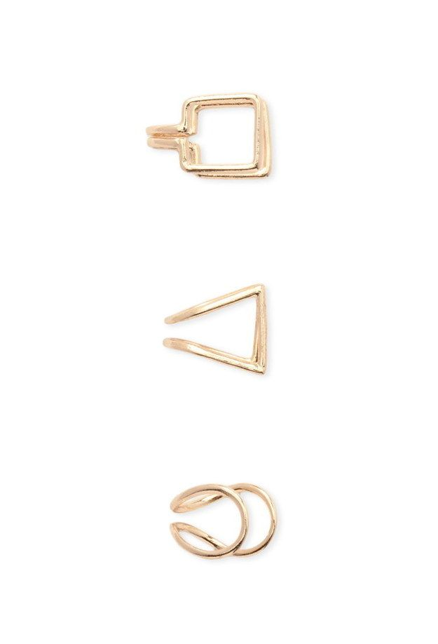 A set of geometric ear cuffs you don't need extra piercings for.