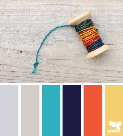 threaded hues via Design-Seeds | Loud, splashy palette -- with two subtle, muted complements -- perfect for a high Enthusiasm value. #VoiceValues | commentary via The Voice Bureau at AbbyKerr.com