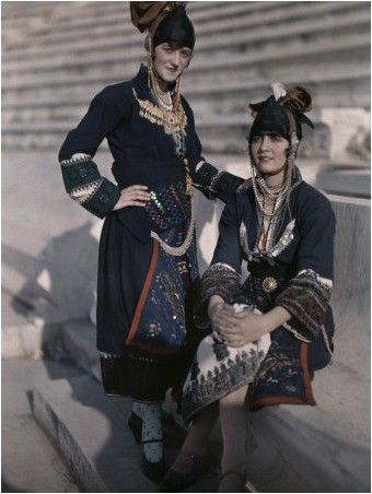 Women of Gida Once Wore Headdresses Fashioned after Warrior Helmets National Geographic's Greece in Color from the 1920s Photographer: Maynard Owen Williams in the 1920s.