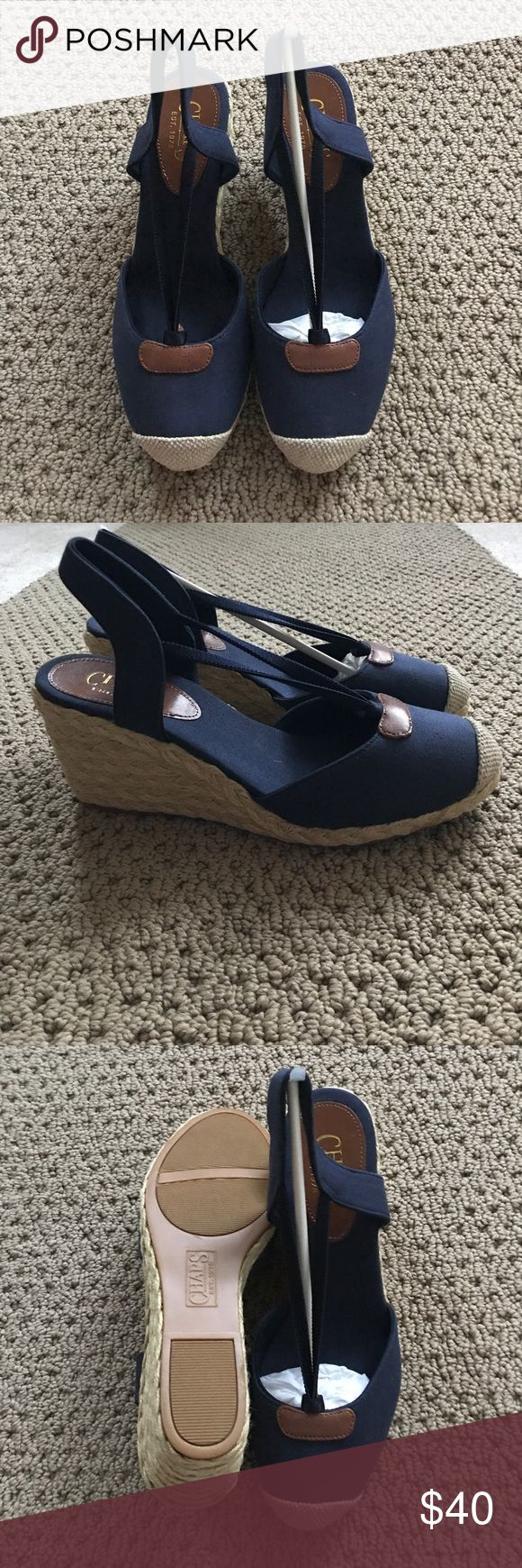 Champs wedges never worn Navy blue close toe canvas wedges champs Shoes Wedges