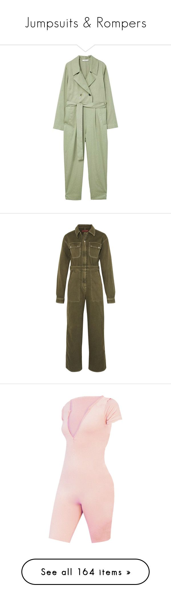 """Jumpsuits & Rompers"" by s-junior ❤ liked on Polyvore featuring jumpsuits, mango jumpsuit, belted jumpsuit, tie waist jumpsuit, jump suit, green jumpsuit, jumpsuit, alexa chung, dresses and playsuits"