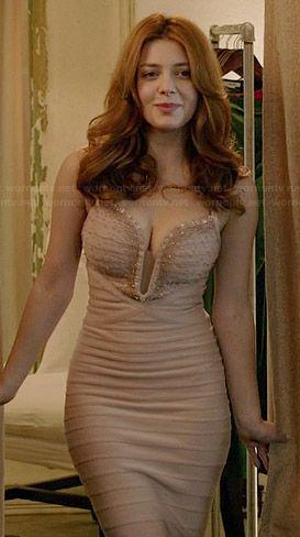 Louise's nude embellished bandage gown on Revenge.  Outfit Details: http://wornontv.net/39155/ #Revenge