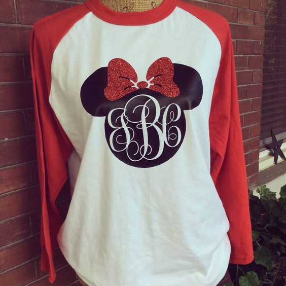 Disney Mickey or Minnie monogram initials heat transfer vinyl on shirt.