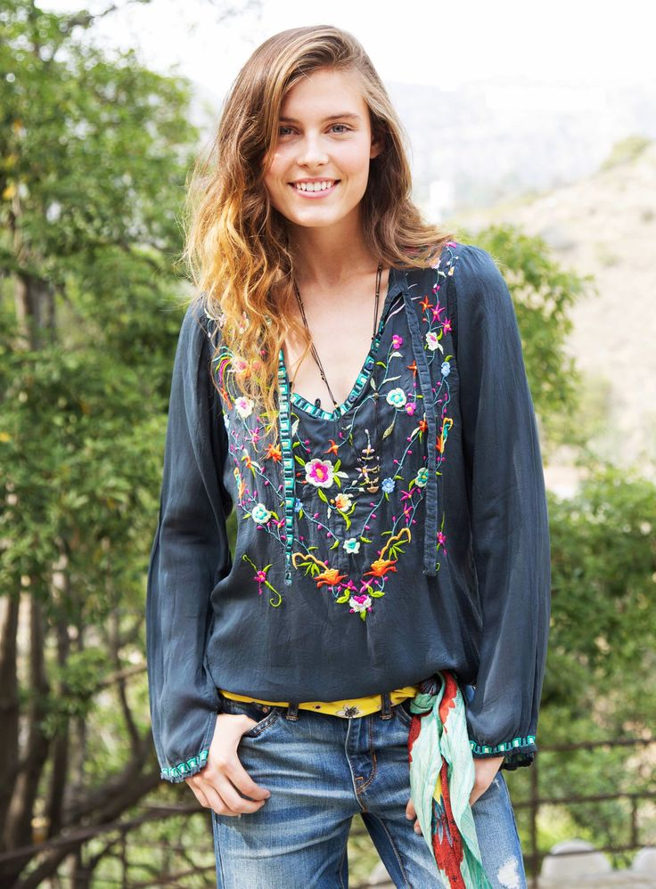 Johnny Was: Victory Blouse- Plus Size This could be done with iron-on embroidered patches and pretty buttons and other embellishments...