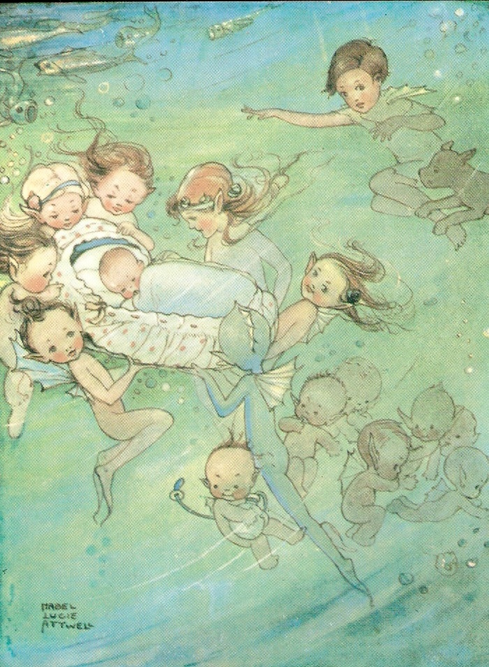 """Mabel Lucie Attwell illustration for """"The Water Babies""""."""