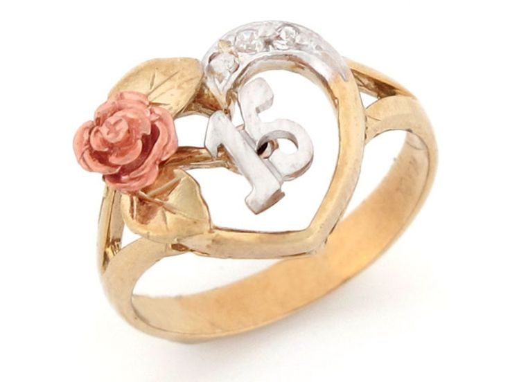15 Anos Rings: Tri-color Gold 15 Anos Quinceanera Red Rose CZ Ring