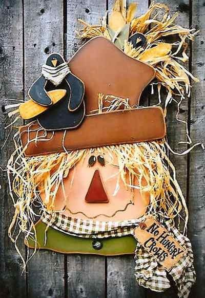 Retro 2014 Thanksgiving Wood Scarecrow Signs - Crow, Straw, Fabric Door Hanging