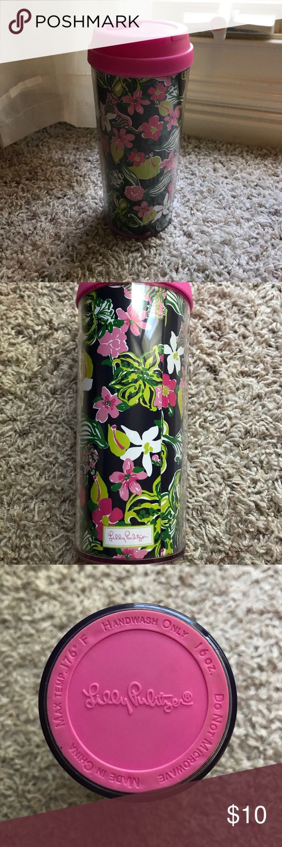Lilly Pulitzer Travel Mug Lilly Pulitzer Travel Mug for sale!! Good condition! This was a gift and I just never used it. Material is plastic. Super cute patter with navy, hot pink, and green! 🤗🤗 Lilly Pulitzer Other
